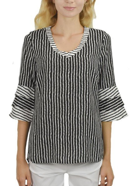 Renuar's Triple Bell Blouse In Black & White