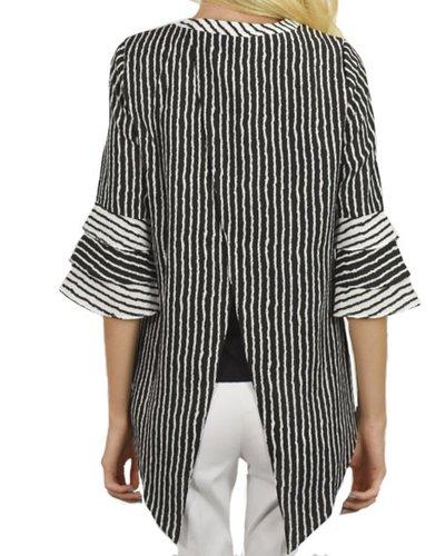 Renuar's Triple Bell Blouse In Black & White
