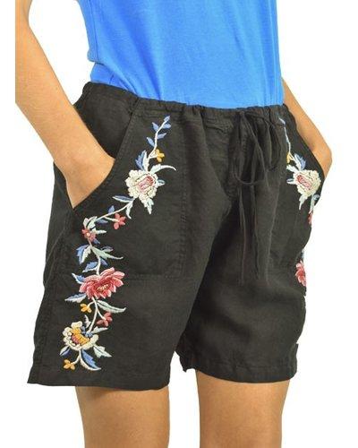 Johnny Was Janelle Linen Shorts In Black
