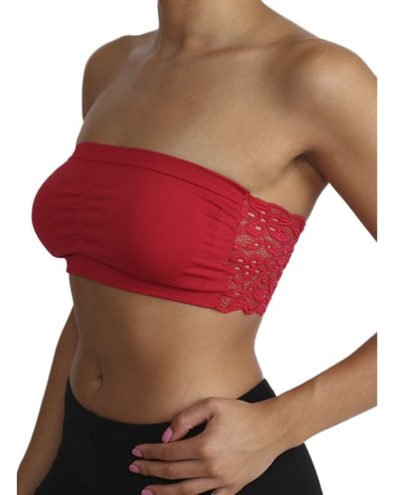 Lace Back Bandeau Bra In Red