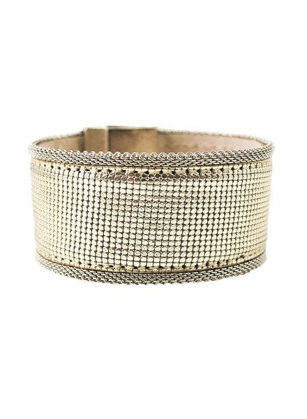 Aged Silver Streets Ahead Leather & Mesh Bracelet