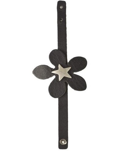 Streets Ahead Black Star Flower Leather Bracelet