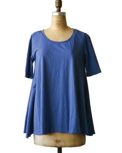 Cotton A-Line Poppy T Shirt In Blue