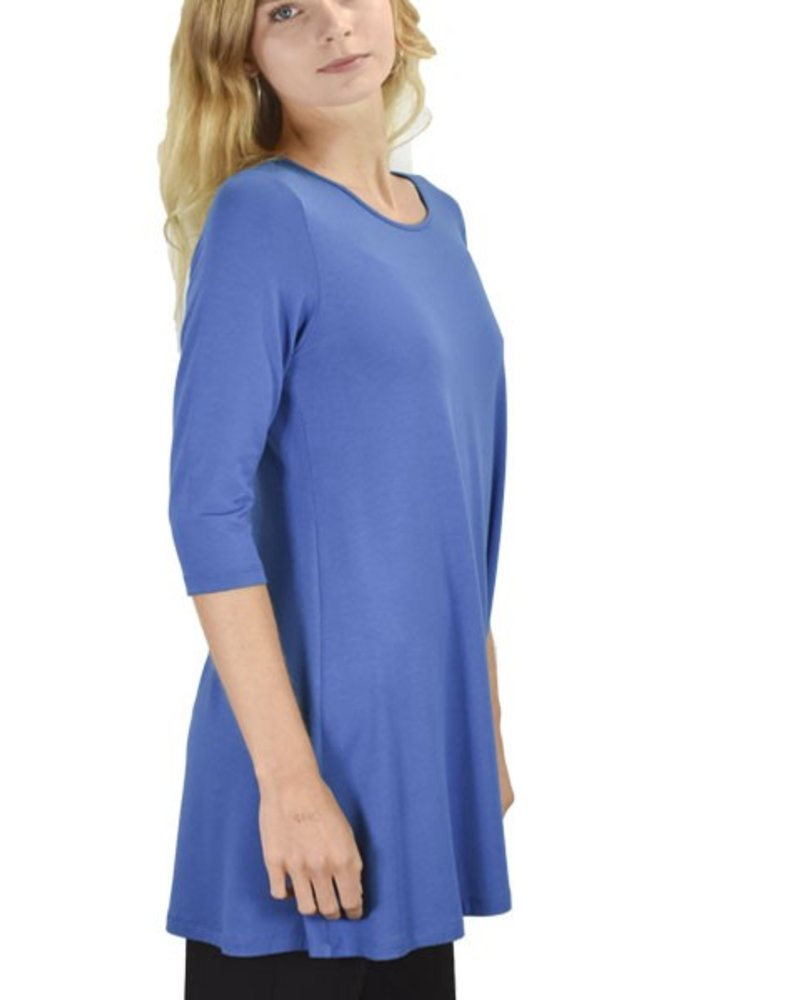 Comfy 3/4 Sleeve Tunic Top In Estate Blue