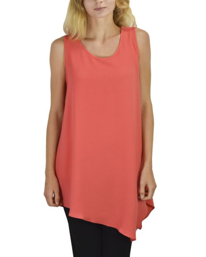 Jason Textured Crepe Tank In Lava