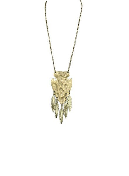 Hammered Arrow Head Necklace In Burnt Gold