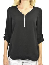 Renuar's Zipper Front Airflow Blouse In Black