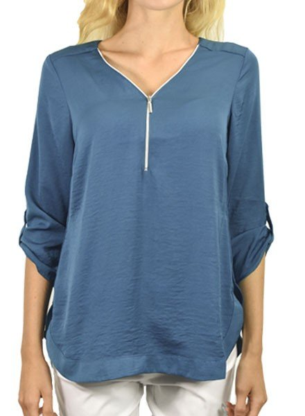Renuar's Zipper Front Airflow Blouse In Teal
