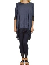 Comfy's Mesh Contrast Tunic In Navy Blues