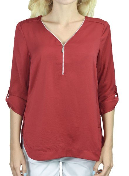 Renuar's Zipper Front Airflow Blouse In Crimson