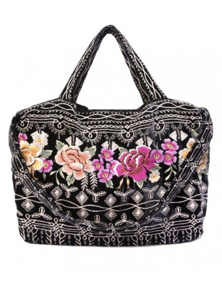 Johnny Was Flores Velvet Tote In Black