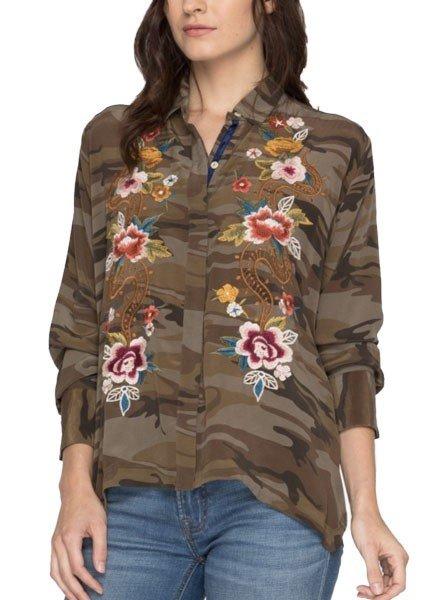 Esmeralda Handerchief Bolero Shirt In Camo