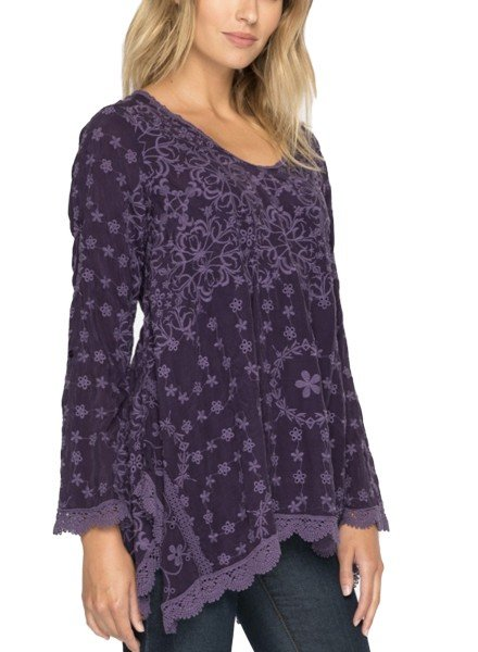 Johnny Was Jossimar Flowy Tunic In Deep Grape