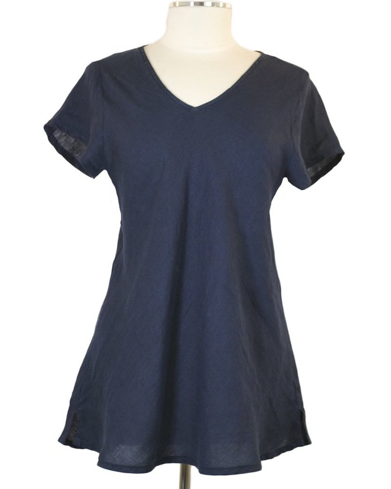 The Short Sleeve Bias Cut Top In Navy