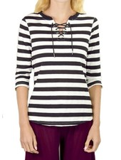 French Dressing Sassy Sailor Top With Black Stripes