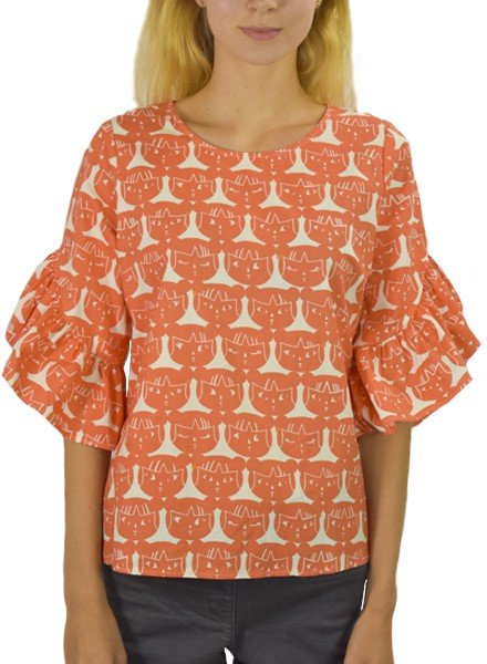 Lost in Japan Swing Top in Orange and Cream