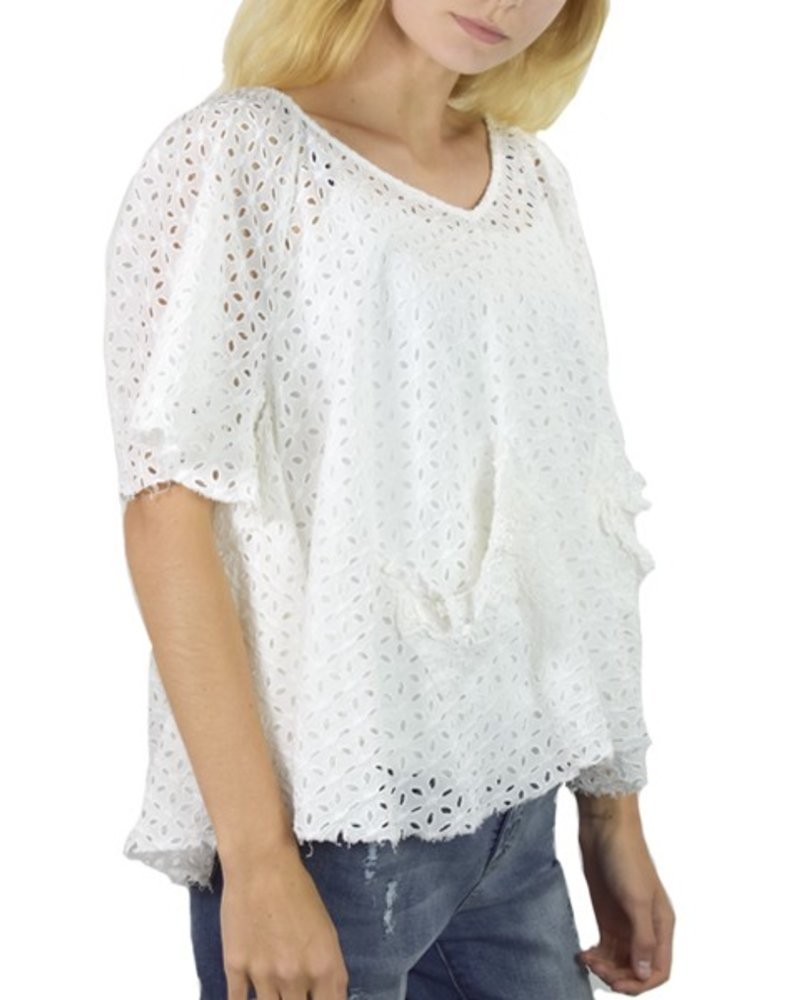 Flutter Eyelet Top in White