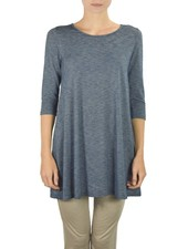 Comfy U.S.A. Comfy's 3/4 Sleeve Tunic Top In Tuxedo Blue Knit
