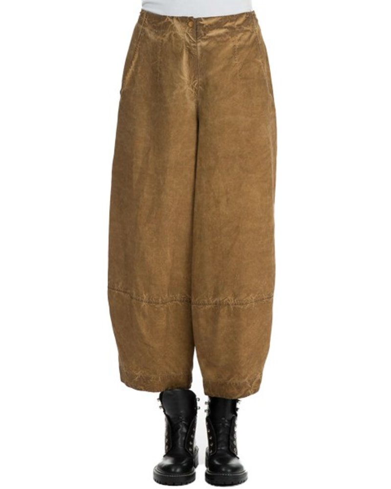 Griza's Silk & Linen Wide Trousers In Amber