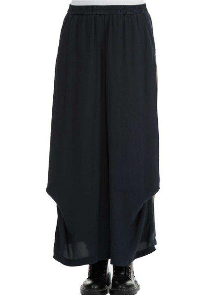 Griza's Wide Maxi Silk Trousers In Dark Navy