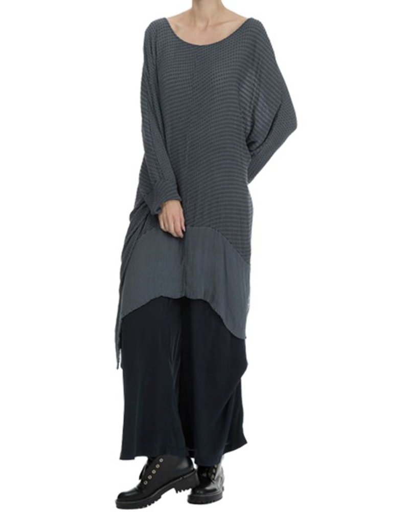 Griza's Oversized Slightly Transparent Silk Tunic In Grey
