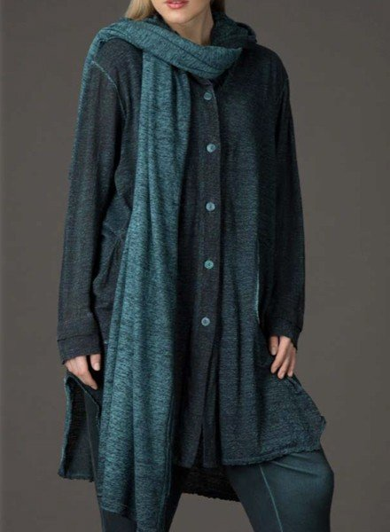 Griza's Hooded Slightly Printed Long Jacket In Teal