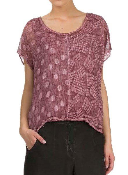 Washable Silk Dual Top In Maroon