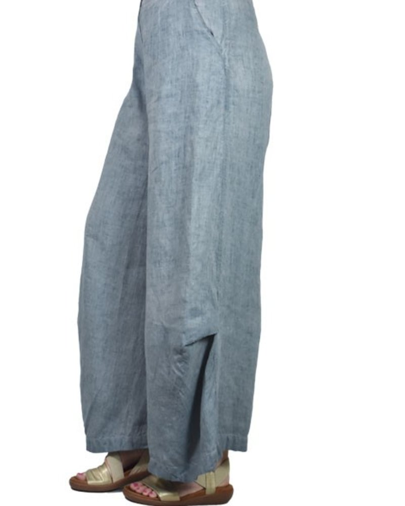 Griza's Wide Leg Trousers In Grey Blue