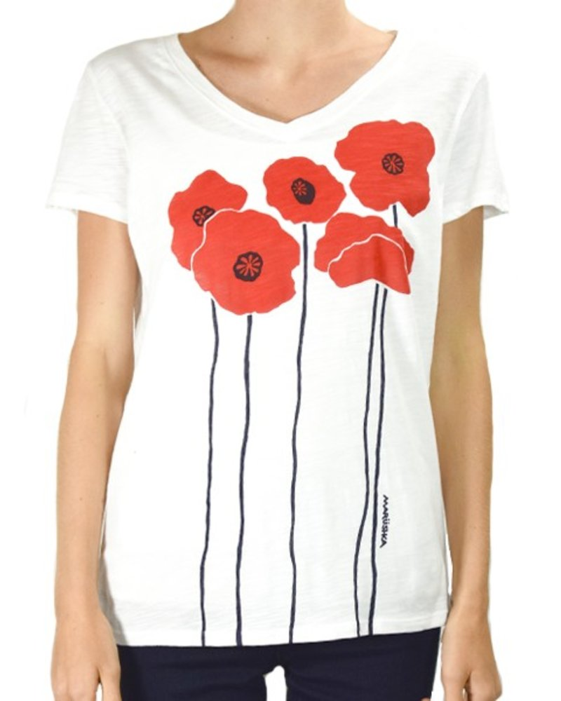 Marushka's Poppies On White Tee