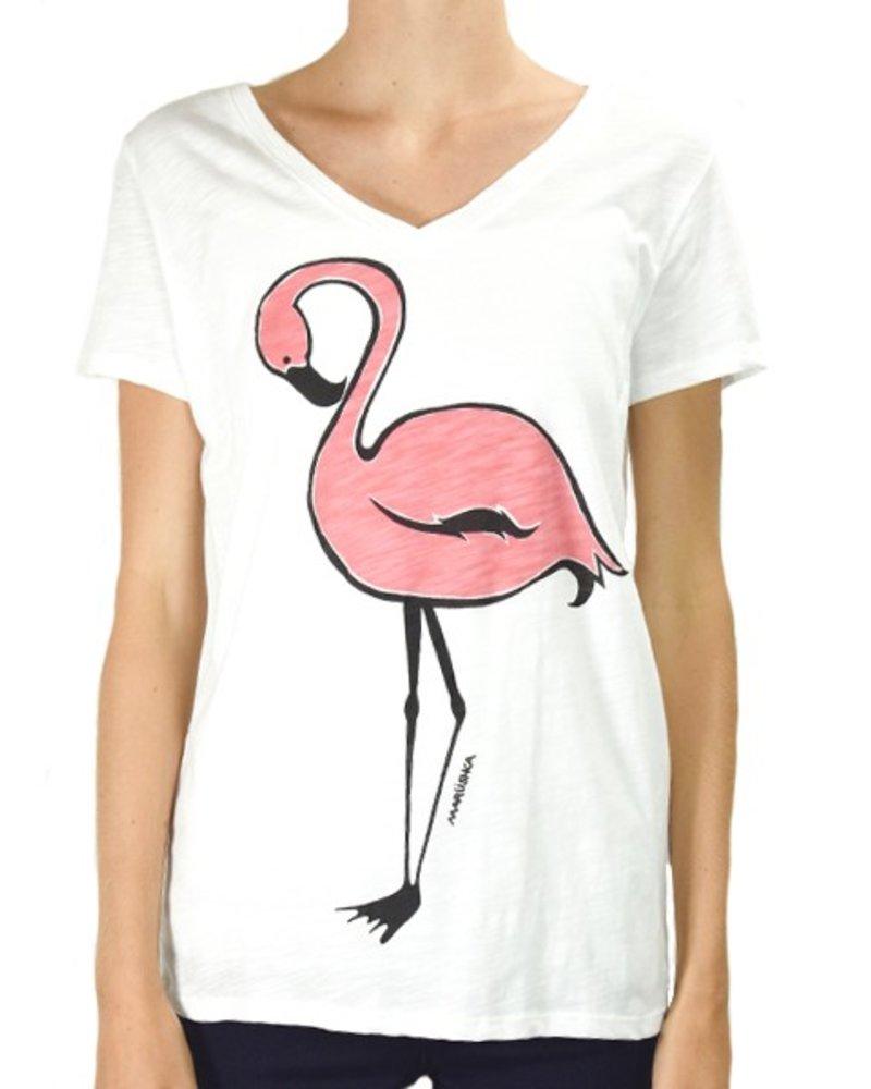 Marushka's Pink Flamingo On White