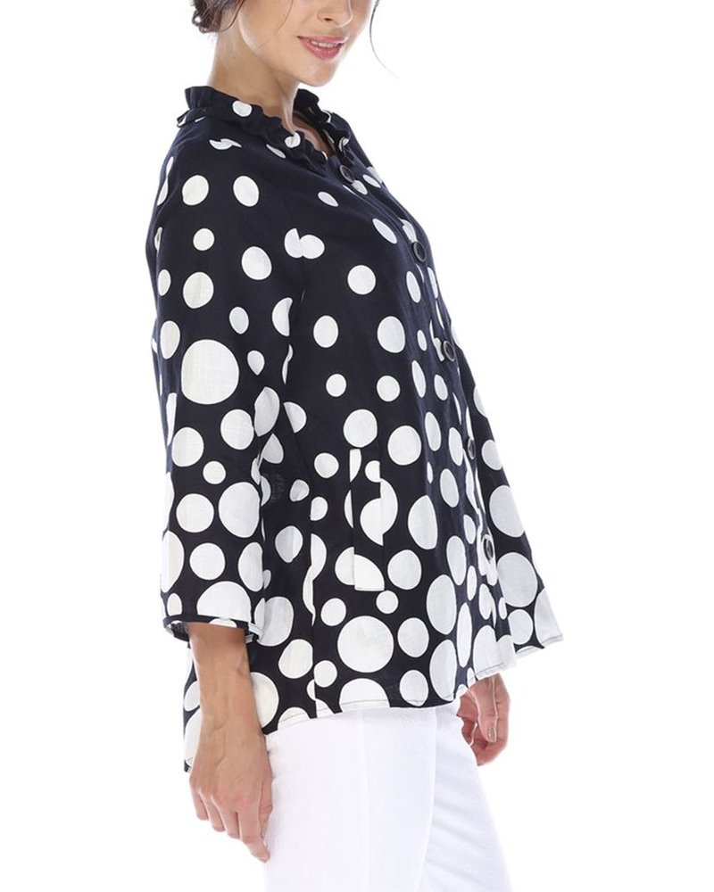 I Love Lucy Linen Jacket In Navy With White Dots