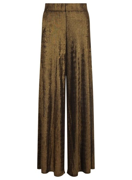 Traffic People's Jagger Flare Metallic Trousers In Gold