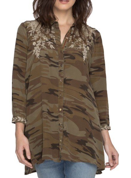 Johnny Was Lennon Swing Shirt Tunic In Camo
