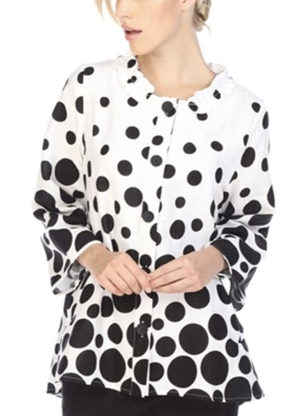 I Love Lucy Linen Jacket In White With Black Dots