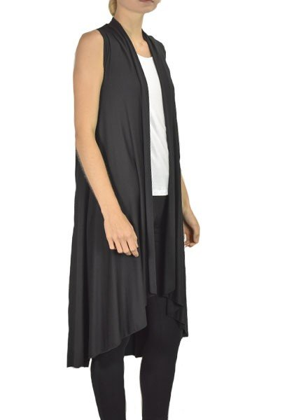 Comfy's Long Flowy Vest In Black