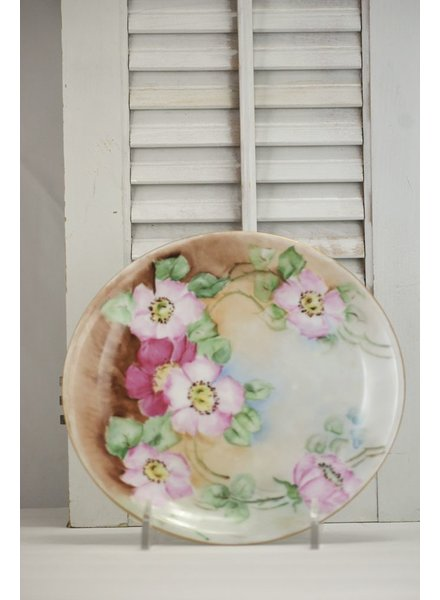 Hand Painted Bavarian Pink Poppy Plate