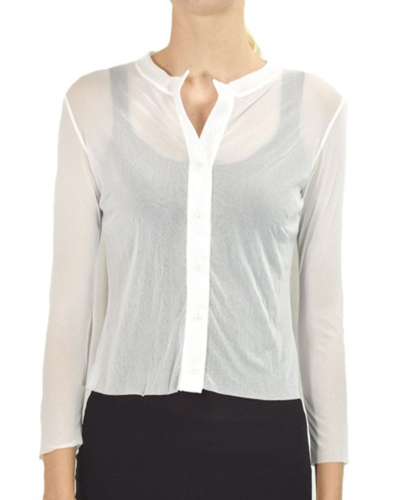 Petit Pois Button Front Cropped Cardi In White