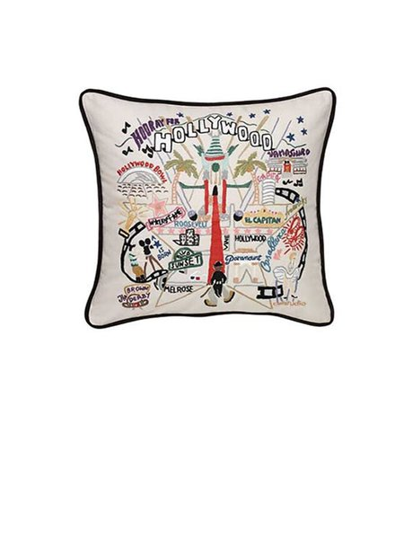 Hand Embroidered Hollywood Pillow