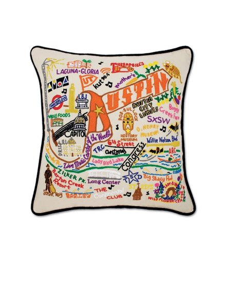 Hand Embroidered Austin Pillow