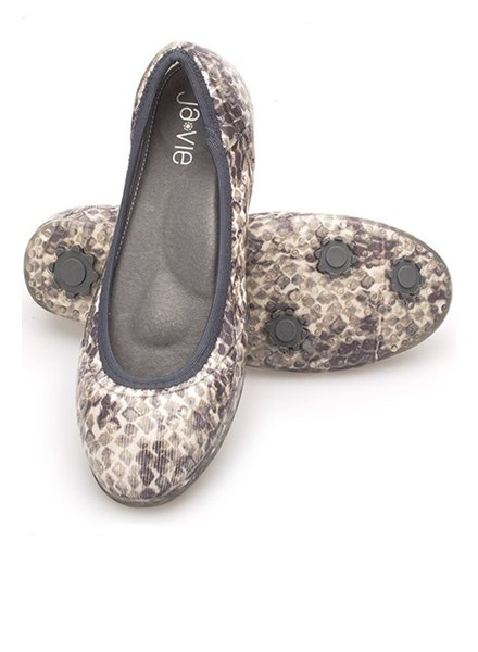 Ja Vie Jelly Knit Flats In Sand & Charcoal Snake