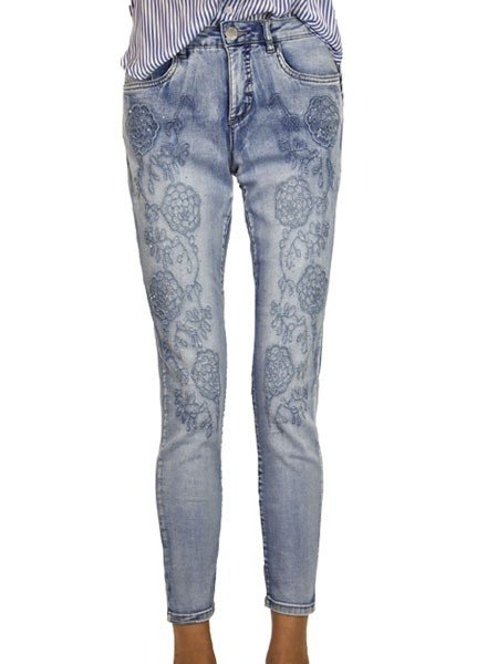 The Olivia Floral Embroidered Ankle Jean