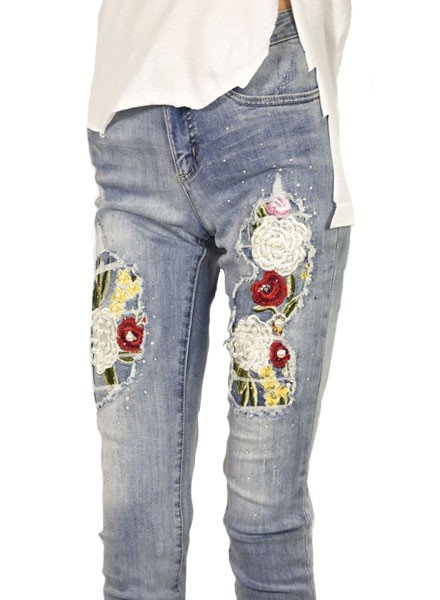 The Olivia Embroidered Pearl Ankle Jean