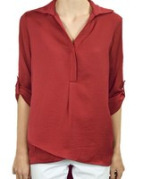 Renuar's Soft And Beautiful Blouse In Crimson