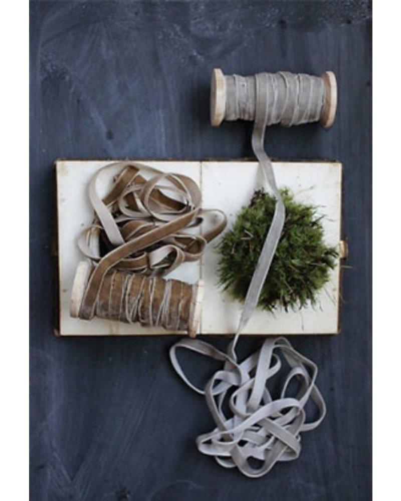 Grey Velvet Ribbon on A Wooden Spool