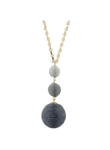 Blue Ombre Thread Ball Necklace