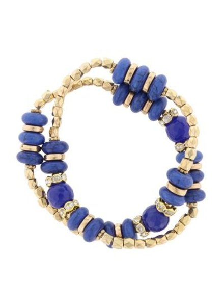 Double Wrap Stretch Navy & Gold Bracelet