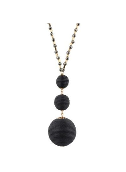 Black Thread Ball Necklace