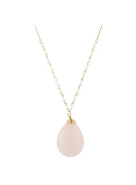 Pink Stone Teardrop Necklace