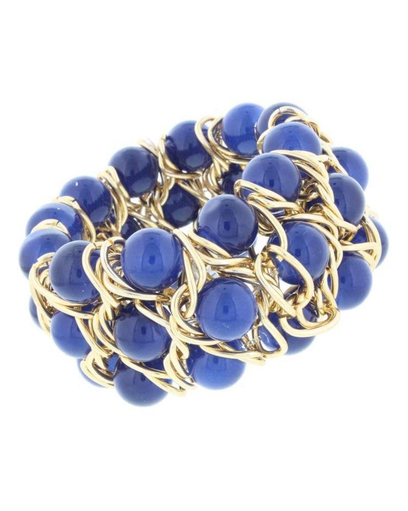 Triple Layer Stretch Bead Bracelet In Navy