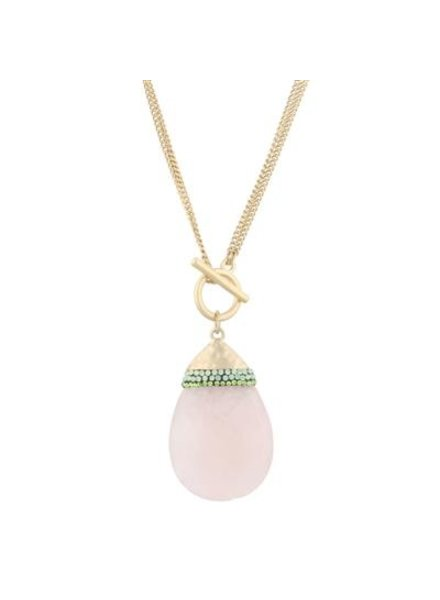 Jeweled Stone Teardrop Necklace In Pink